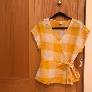 Old Navy Yellow Gingham Top